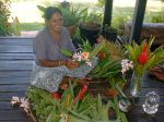 Sheri (caretaker) arranging flowers